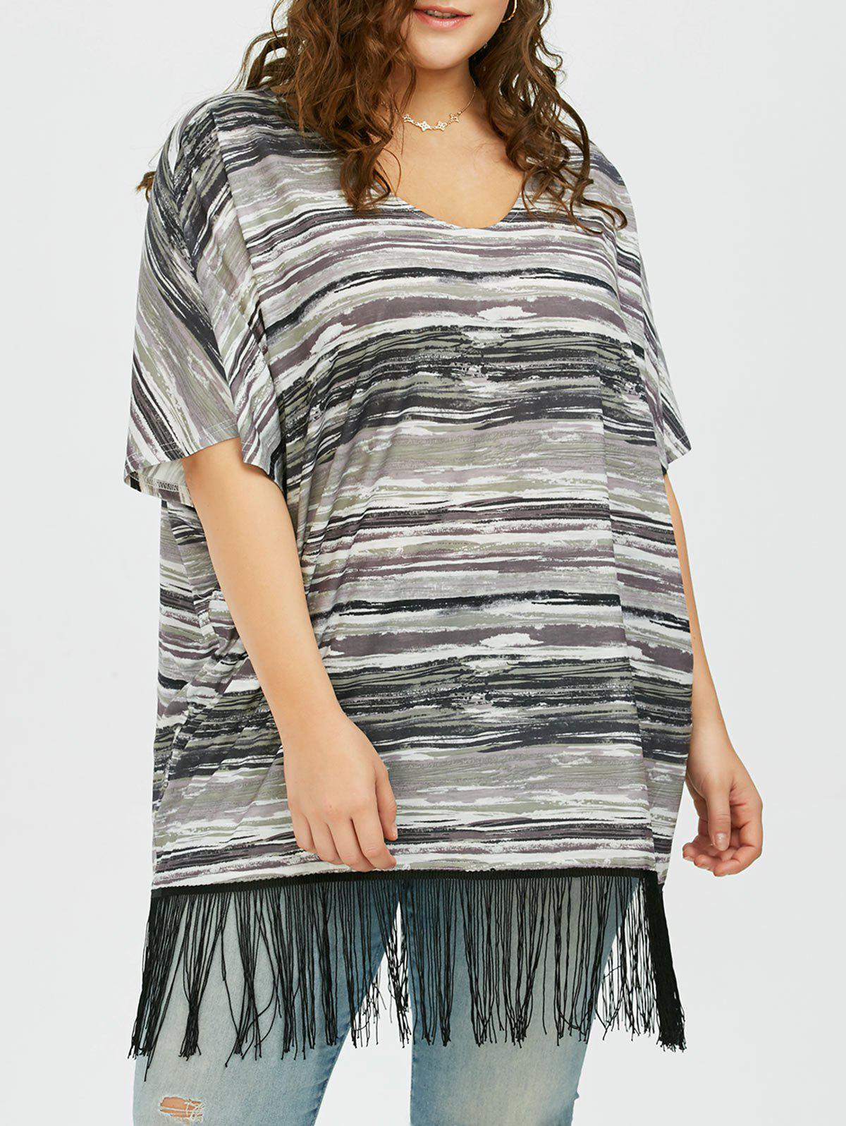 Plus Size Striped Fringed T-shirt - COLORMIX XL