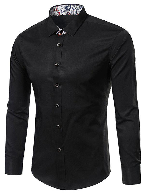 Paisley Edging Long Sleeve Shirt - BLACK 3XL