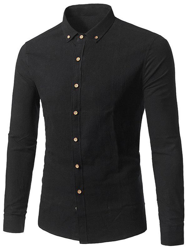 Long Sleeve Cotton Button Down Shirt - BLACK 3XL