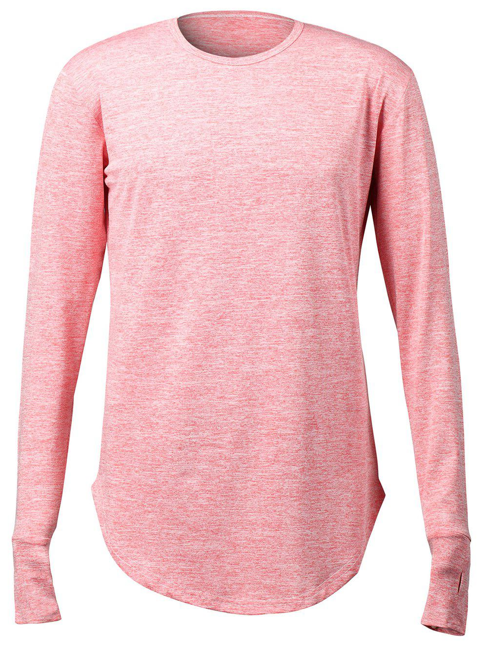 2018 Long Sleeve Stretchy Finger Hole Design T Shirt Red M