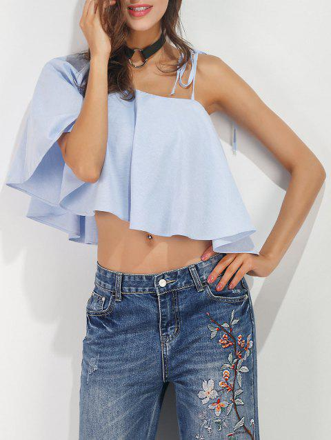 Ruffle Cropped Convertible Blouse - BLUE S