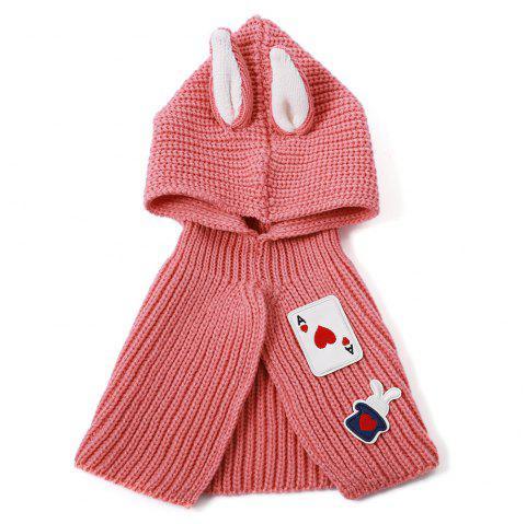 Warm Applique Patched Rabbit Ear Knitted Hooded Scarf - PINK