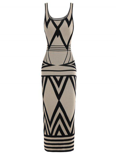 8a620243d92d7 41% OFF] 2019 Zigzag Tank Casual Fitted Maxi Dress In LIGHT BEIGE ...