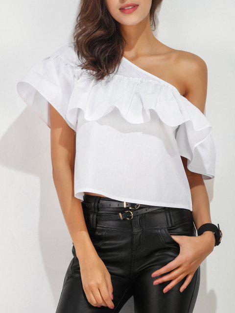 One Shoulder Ruffle Layer Blouse - WHITE S