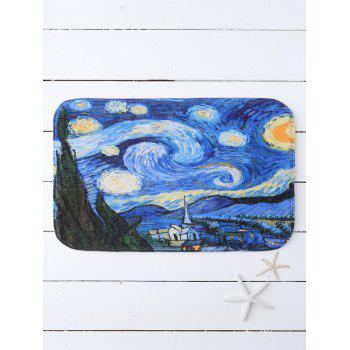 Oil Painting Starry Sky Print Floor Mat