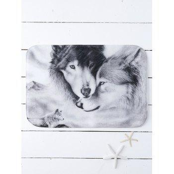 Wolfs Print Water Absorb Bath Mat