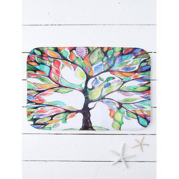 Symbolic Tree Print Water Absorb Bath Mat