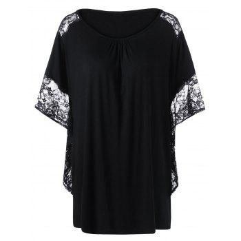Plus Size Lace Insert Butterfly Sleeve T-Shirt