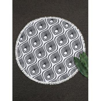 Water Drop Fringe Round Beach Throw - WHITE AND BLACK WHITE/BLACK
