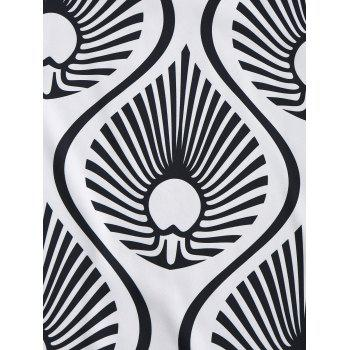 Water Drop Fringe Round Beach Throw - WHITE/BLACK WHITE/BLACK