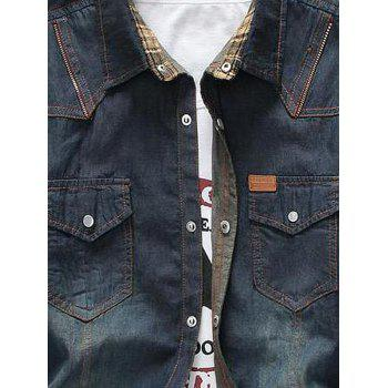 Zipper Design Bleach Wash Pockets Denim Shirt - DEEP BLUE XL
