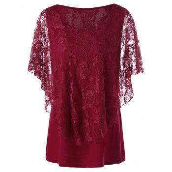 Plus Size Lace Overlay T-Shirt