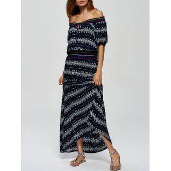 Tribal Print Off The Shoulder Maxi Dress
