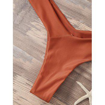 High Cut Sporty Two Piece Swimsuit - ORANGE RED L