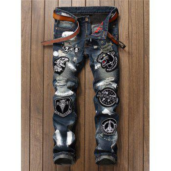 Painted Distress Embroidery Jeans