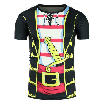 Faux Twinset 3D Cartoon Costume Print T-Shirt