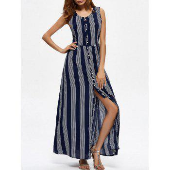 High Slit Stripe Beach Long Dress