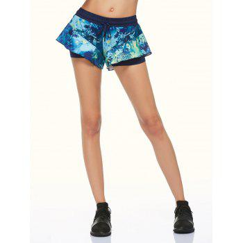 Tie Dye Double Layer Running Shorts - BLACK S