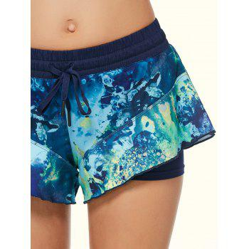 Tie Dye Double Layer Running Shorts - BLACK BLACK