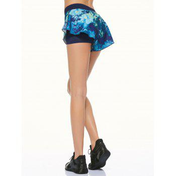 Tie Dye Double Layer Running Shorts - L L