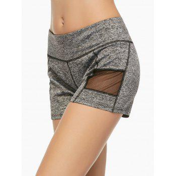 Mesh Panel Running Shorts - GRAY S
