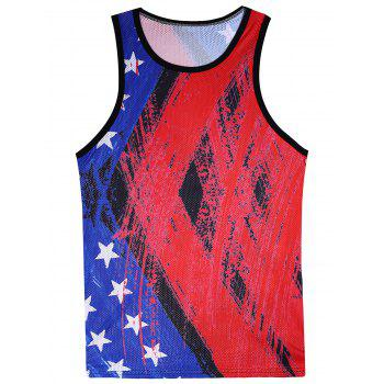 Openwork 3D Splatter Paint and Stars Print Tank Top