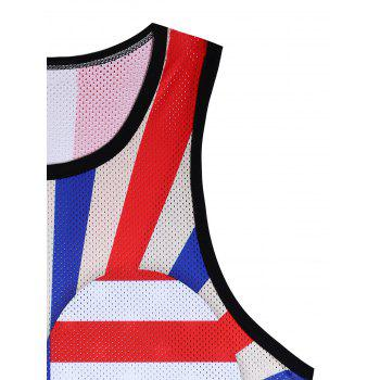 Openwork 3D Stripes and Stars Heart Print Tank Top - COLORMIX 2XL