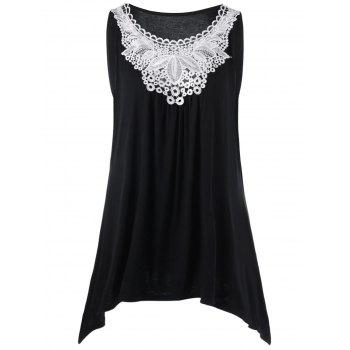 Plus Size Lace Trim Asymmetrical Tank Top
