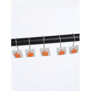 12 Pcs Hanger Towel Print Bath Shower Curtain Hooks - ORANGE ORANGE