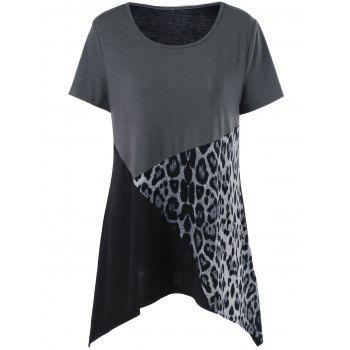Buy Plus Size Leopard Insert T-Shirt BLACK/GREY