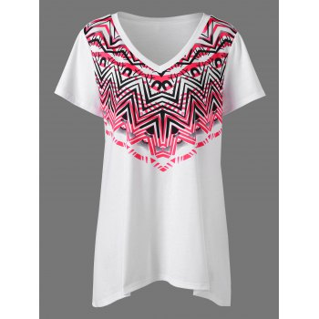 Plus Size Zigzag V Neck T-Shirt