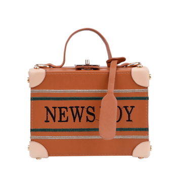 News Boy Embroidered Box Shaped Handbag