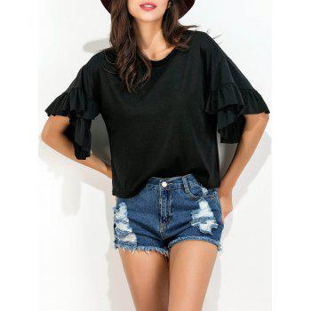 Loose Fit Ruffle Layer Tee