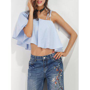 Ruffle Cropped Convertible Blouse
