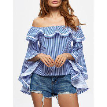 Off The Shoulder Flounce Striped Blouse