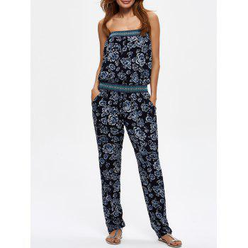 Strapless Floral Print Jumpsuit with Pockets