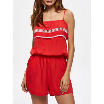 Flounce Lace Insert Convertible Romper with Pockets