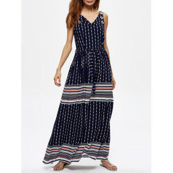 Grommet Striped Geometric Print Maxi Dress