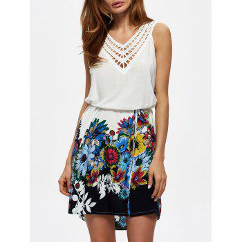 V Neck Floral Print Crochet Panel Dress