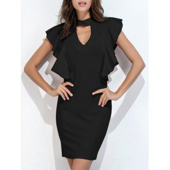 Choker Neck Ruffle Bodycon Dress Short Club Dresses