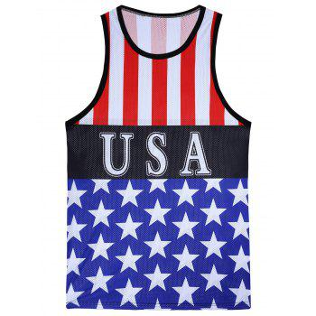 Openwork 3D Stripes and Stars Print Tank Top