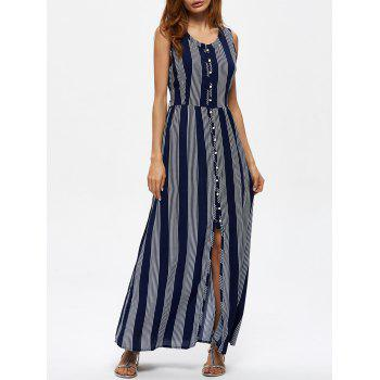 Striped Button Up High Waist Maxi Dress