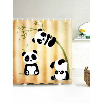 Three Pandas Play With Bamboo Print Waterproof Shower Curtain
