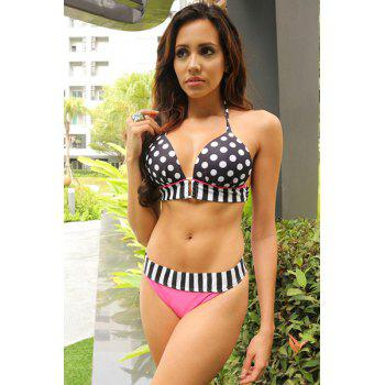Sexy Halter Spliced Polka Dot Women's Bikini Set - WHITE/BLACK S