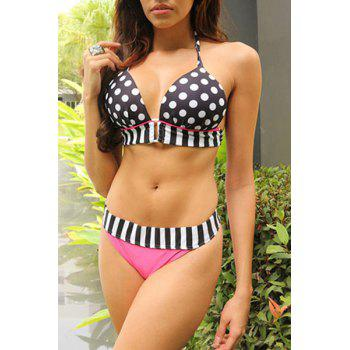 Sexy Halter Spliced Polka Dot Women's Bikini Set