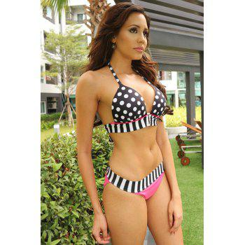 Sexy Halter Spliced Polka Dot Women's Bikini Set - WHITE/BLACK L