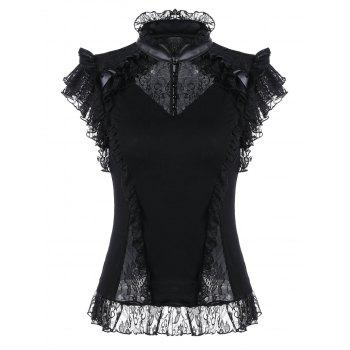 Lace Insert Butterfly Sleeve Ruffle Blouse