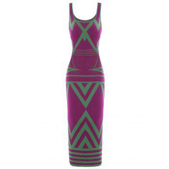 Zigzag Tank Casual Fitted Maxi Dress