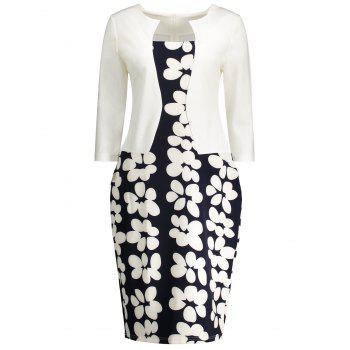 Floral Printed Notched Sheath Dress