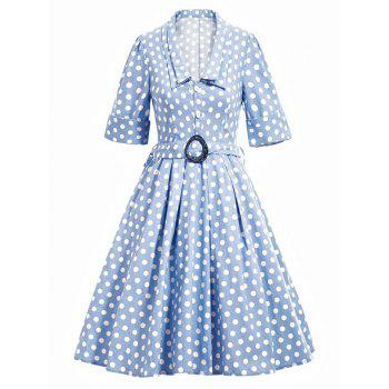 Vintage Polka Dot Flare Dress With Belt